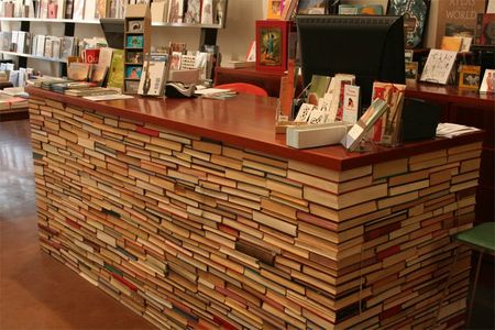 counter made from books